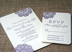 vintage Lace rustic letterpress invitation: in purple lilac colors with matching script calligraphy font. www.sofiainvitations.etsy.com