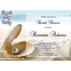 Seaside Bridal Shower invitation, Sea Shell Bridal Shower Invitation,Beach Wedding Shower Invitation,(8)