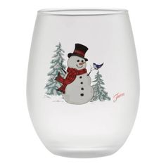 15 oz. Fiesta®️️ Snowman Frosted Stemless Wine – Set of 4