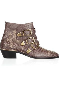 CHLOÉ - Studded Python Ankle Boots