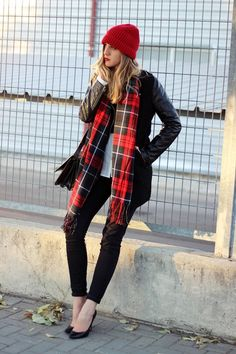 Red Tuque - Plaid Scarf - Leather Jacket - Pointed Black Heels