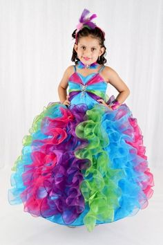 2015 Spaghetti Straps Glitz Pageant Dresses Brooch Junior Bridesmaid Dresses Ball Gowns for Little Girl