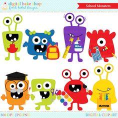 OFF school clip art clipart monsters aliens by DigitalBakeShop Cartoon Monsters, Cute Monsters, Monster Board, Monster Bulletin Boards, Monster Clipart, Monster Crafts, Monster Birthday Parties, Simple Cartoon, Image Fun