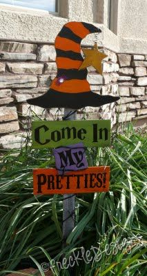 So cute!  From http://freckledesignsworkshop.blogspot.com/2009/10/halloween-stake-includes-stake-wood.html?m=1