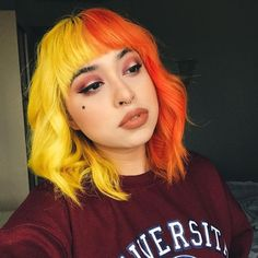 dyed hair Stay tuned for a hair color change Half Colored Hair, Half And Half Hair, Hair Dye Colors, Cool Hair Color, Hair Goals Color, Yellow Hair Color, Pastel Colors, Dye My Hair, New Hair