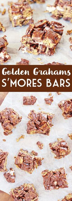 Golden Grahams S'mores Bars -- Golden Grahams s'mores bars are so simple and so scrumptious, you'll want to eat them year round. Plus they're a fun alternative to the tradition krispie treats. | halfscratched.com #recipe #dessert