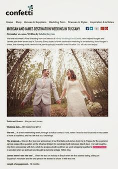 Monday, 10 November 2014: (Online) Confetti Article - Morgan And James Destination Wedding In Tuscany  Ring from Grays Antiques.