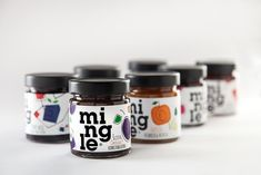 Domino Communications designed the packaging for Mingle, a new line of spreadable goodness. The packaging features playful typography that gets you ready to mingle. Jam Packaging, Food Packaging Design, Packaging Design Inspiration, Brand Packaging, Product Packaging, Strawberry Balsamic, Forest Fruits, Sour Taste, Glass Printing