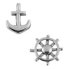 Jewel Exclusive Sterling Silver Anchor & Ship's Wheel Stud Earrings (9.21 CAD) ❤ liked on Polyvore featuring jewelry, earrings, multi, nautical jewelry, cocktail jewelry, holiday earrings, sterling silver nautical jewelry and sterling silver jewelry