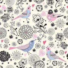 Aves y flores estilo vintage                                                                                                                                                      Más