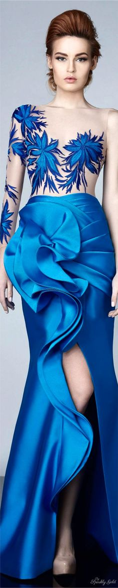Divina by Edward Arsouni Fall Winter Ready To Wear Collection Highlights Blue Fashion, Fashion Show, Womens Fashion, Fashion Design, Fashion 2017, Dress Fashion, Blue Dresses, Prom Dresses, Long Dresses