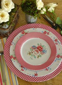 Picket Fence Melamine Dinnerware, I love the combination of gingham and florals...especially using red.
