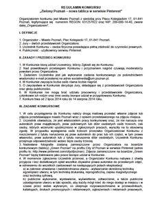 """Regulamin Konkursu """"Zielony Poznań"""" cz.1/2"""