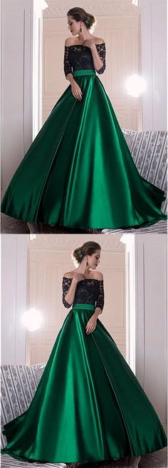 Graceful Lace Prom Dress, Green Satin Long Prom Dress, Off-the-shoulder A-line Evening Dress With Pleats #promdress #longpromdress #elegantpartydress #uniqueeveningdres #simplepromgown #RosyProm #offshoulderpromdress #greenpromgown