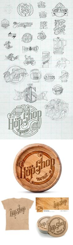 A branding and custom lettering project for a new craft beer bar in Brooklyn, New York. The Hop Shop logo draft sketches with completed design.