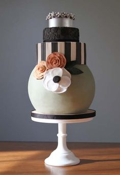 Non-traditional stacked cake boasts a large soft green spherical bottom tier
