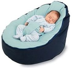 BayB Brand Baby Bean Bag - Filled - (Blue/Blue)