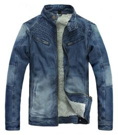 Blue Clothing Long Sleeve Casual Men Cotton and Blends Jeans Jacket Coat M/L/XL/XXL @SJ45611bl