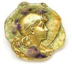 Art Nouveau - Enamel and gold nymph brooch. Falize, Paris <3