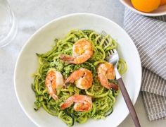 Make this zucchini linguine dish with shrimp in early spring when fava beans are tender and abundant.