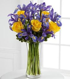 The FTD® Sunlit Treasures™ Bouquet spreads joy and light with its rich display of brilliant color. Deep midnight blue iris set an impressive background to vibrant yellow roses perfectly arranged in a clear glass vase, creating a bouquet of happy wishes fo Father's Day Flowers, Get Well Flowers, Spring Flowers, Wedding Flowers, Easter Flowers, Church Flowers, Send Flowers, Flowers Garden, Floral Centerpieces