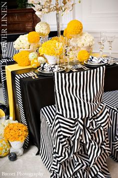 Black and White Wedding chairs/table with yellow accents Black And White Love, Yellow Black, Yellow Accents, Yellow Stripes, Beautiful Table Settings, Deco Floral, Wedding Chairs, Wedding Table, Slipcovers For Chairs