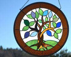 Panel de grandes vidrieras colgante por WindsongGlassStudio en Etsy