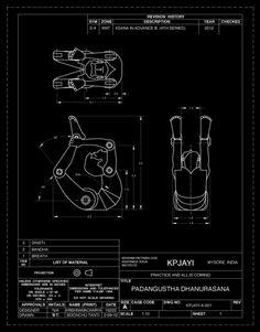 Padangustha Dhanurasana. (Advance B)  Engineer drawing by Boonchu Tanti