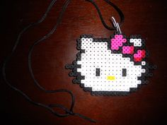 hello kitty w/ perler beads Perler Beads, Fuse Beads, Pearler Bead Patterns, Perler Patterns, Bead Crafts, Diy Crafts, Beading For Kids, Beaded Bookmarks, Iron Beads
