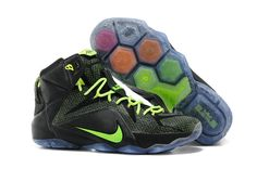 81365f3acde5 Cheap Womens Lebron 12 PS Elite Carbon Black Electric Green 650884 003  2014-2015 Christmas. Nike ...