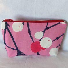 Pink Marimekko travel pouch, sunglass, cosmetic bag, wallet, Lumimarja fabric from Finland, stocking stuffer, bridesmaid gift