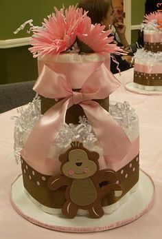 Diaper cake I did for my baby shower