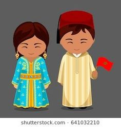 Moroccans in national dress with a flag. Man and woman in traditional costume.