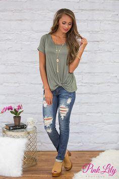 This lovely olive blouse is so perfect for staying cute and comfortable all season long - from a girls day out to relaxing at home, you'll look fabulous everywhere! This classically comfortable blouse features short sleeves and soft, lightweight material that will make you want to rock this look all day long!