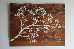 Wall art, Made from Scrap Hardwood Flooring, with painted branches