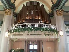 Beautiful Flowers Draping Our Balcony - greenSinner Banquet Facilities, Wedding Receptions, Trade Show, Draping, Balcony, Beautiful Flowers, Wedding Decorations, Ceiling Lights, Weddings