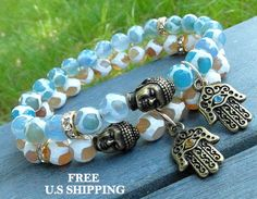 Protection, Buddha, Hamsa Hand, Yoga set of 2, mala bracelets, Meditation set, Reiki Charged, Protection bracelet, buddha bracelet, Malas