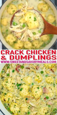 Crack Chicken and Dumplings [Video] – Sweet and Savory Meals Crack Chicken and Dumplings is a twist to the classic version! Still a hearty comfort food, this recipe will surely be a new favorite of your family! Chicken Soup Recipes, Easy Soup Recipes, Dinner Recipes, Healthy Recipes, Crack Chicken Noodle Soup, Slow Cooker Recipes, Crockpot Recipes, Cooking Recipes, Bacon Recipes
