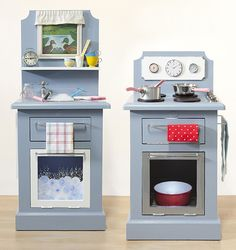 Finally deck out your kitchen with pots, pans, cake tins, plates, tea towels, cutlery & watch the kids have hours of fun!