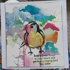 Fasters korthus: Watercolour and stamping Wakley Bird 3 - 4