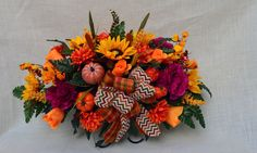No.F011 Sun flower  Fall Cemetery Arrangement . Headstone saddle, Grave,   Tombstone arrangement,  Cemetery flowers by AFlowerAndMore on Etsy