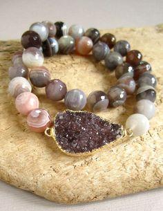 Natural Redline Marble Gemstone Tubes Beaded Stretch Bracelet