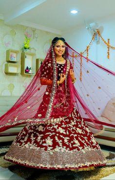 "Photo from Vinu Paravoor Photography ""Our Brides"" album Lehenga Saree, Bridal Lehenga, Saree Wedding, Sarees, Wedding Dresses, Saree Gown, Wedding Colors, Brides, Gowns"