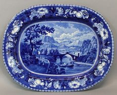 Antique Historical Staffordshire Blue Transferware Platter Bridge of Martoreile Blue And White China, Blue China, Love Blue, White Gold, Pottery Patterns, Blue Dinnerware, English China, Vintage Dishes, Cobalt Blue