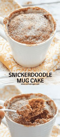 Have dessert ready in minutes with my super quick & easy Snickerdoodle Mug Cake. It's soft, fluffy & cinnamon-y & perfect for when you want something sweet without making a full-blown dessert! #mugcake #cinnamon #snickerdoodle #vegan via @avirtualvegan