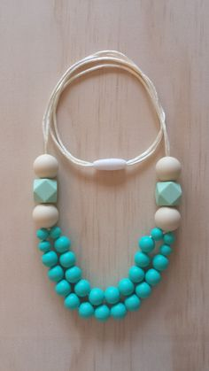 Poppy in Torquoise- Silicone Teething Necklace
