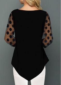 Mesh Panel Dot Print Asymmetric Hem T Shirt Trendy Tops For Women, Blouses For Women, Women's Purple Shirt, Beste Leggings, Plus Size Jeans, Shirt Blouses, Punk Fashion, Lolita Fashion, Apostolic Style