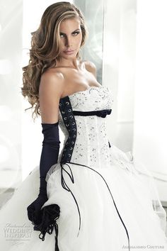 black and white wedding dress -- Alessandro Couture Wedding Dresses 2011 Bridal Gowns, Wedding Gowns, Wedding Bride, Lace Wedding, Dream Wedding, Batman Wedding, Boho Vintage, Tulle Ball Gown, Black Wedding Dresses