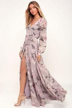 ddeb87e39cd6 Loving You Dusty Purple Floral Print Long Sleeve Wrap Maxi Dress Abito  Malva