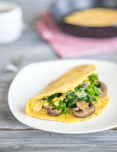 "WFPB Cheezy Chickpea ""Omelets"" with Mushrooms"